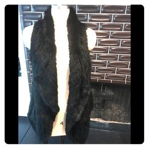 Rabbit Fur vest cashmere ribbed back  size m